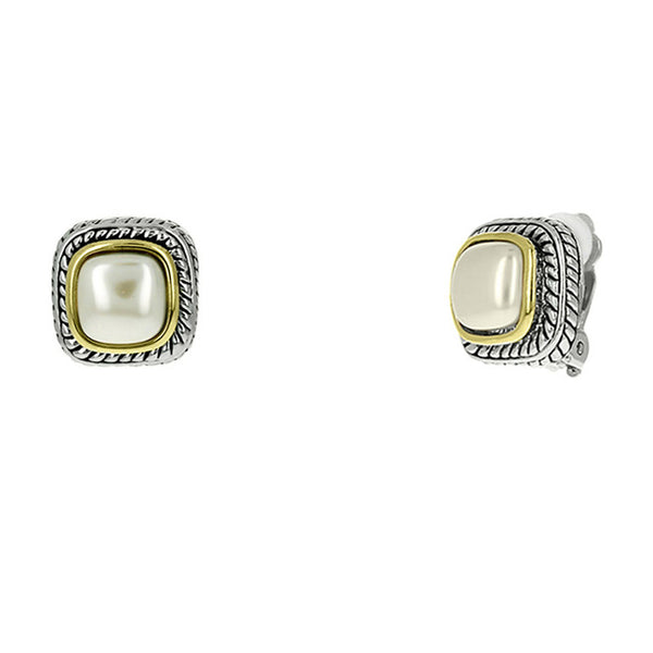 Two Tone Mother of Pearl Clip On Earrings