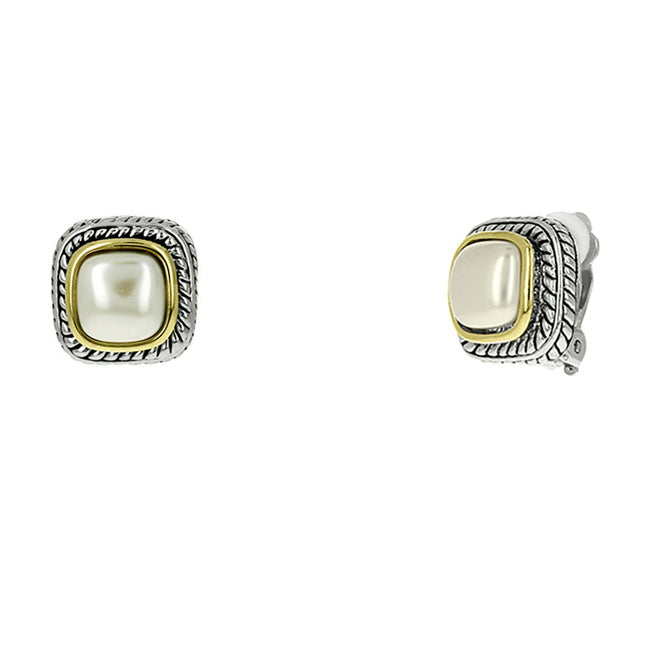 Two Tone Pearl Clip On Earrings