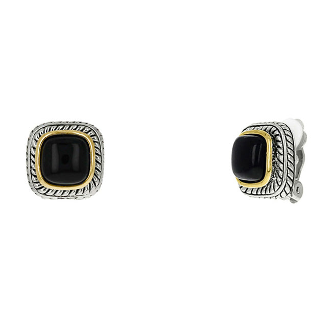 Two Tone Onyx Clip On Earrings
