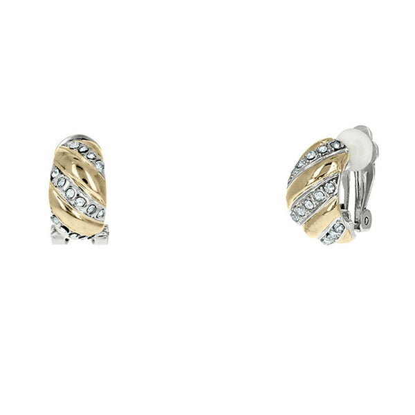Two Tone Oval Cubic Zirconia Clip On Earring