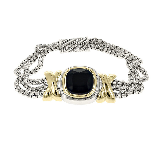 Two Tone Black Cubic Zirconia Multi Strand Magnetic Bracelet