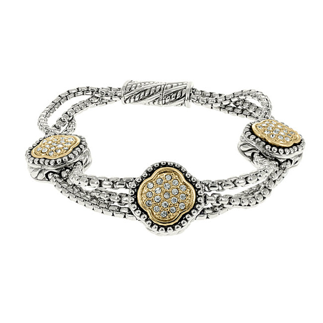 Two Tone Cubic Zirconia Pave Clover Multi Strand Magnetic Bracelet