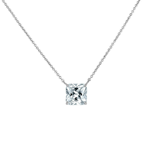 Silver Square Cubic Zirconia Pendant Necklace