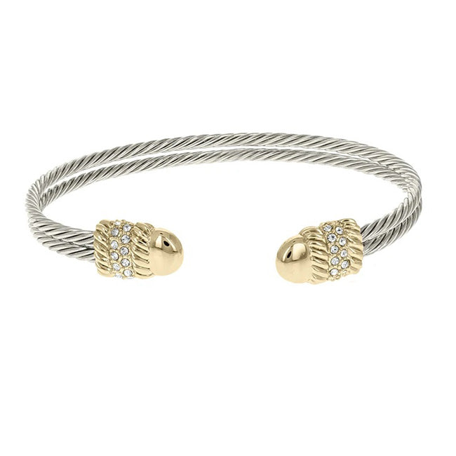 Two Tone CZ Twisted Cable Open Cuff Bracelet