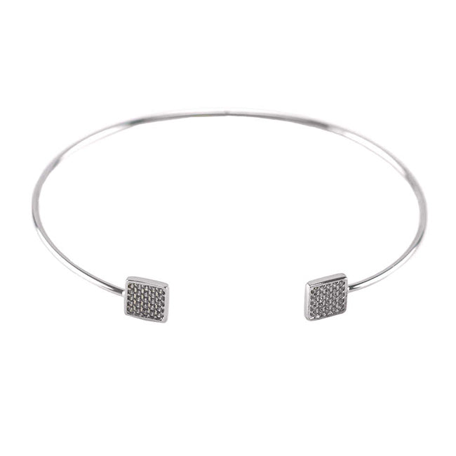 Silver Open Cuff Bracelet with Square CZ Pave Stations