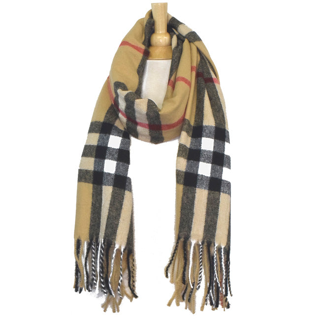 Beige Plaid Oblong Scarf