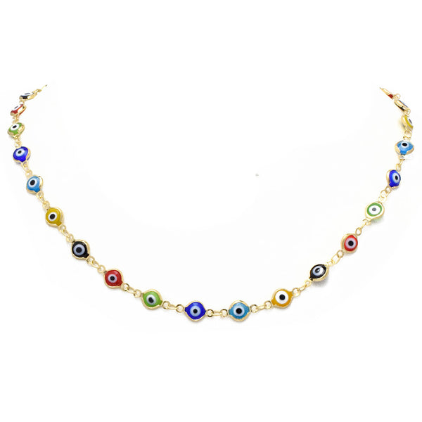 Gold Evil Eye Link Chain Necklace