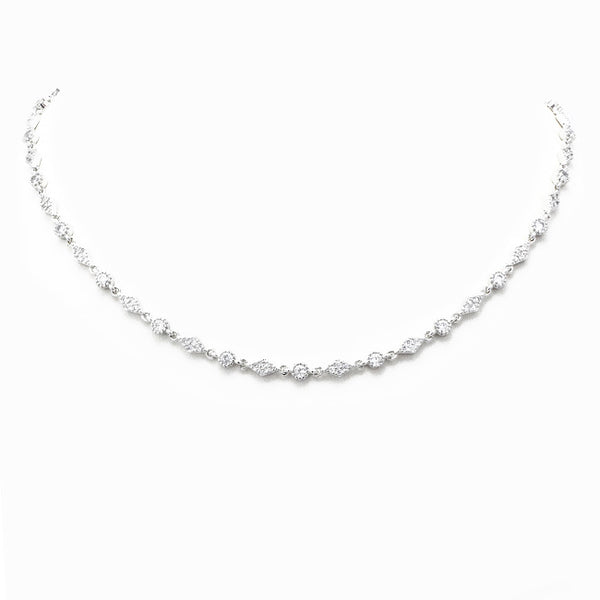 Silver Cubic Zirconia Studded Tennis Necklace