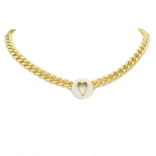Gold Cubic Zirconia Pave Heart Chain Link Necklace