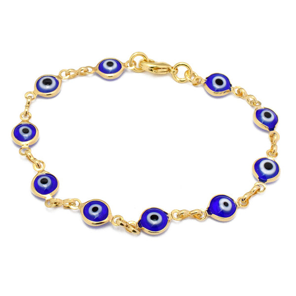 Gold Evil Eye Link Chain Bracelet