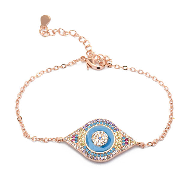 Rose Gold Multi Color CZ Evil Eye Chain Bracelet
