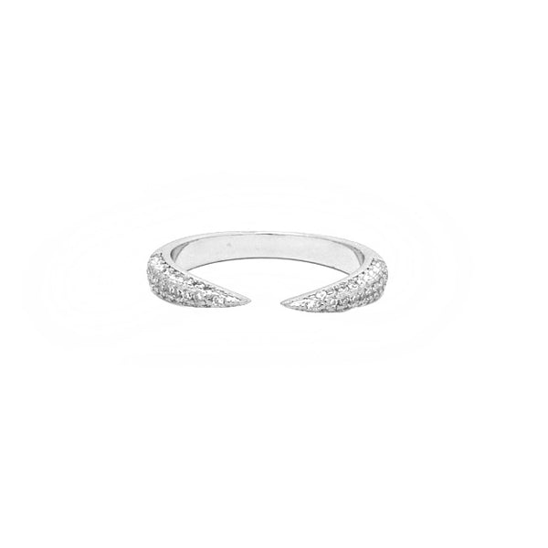 Silver Plated Cubic Zirconia Adjustable Ring