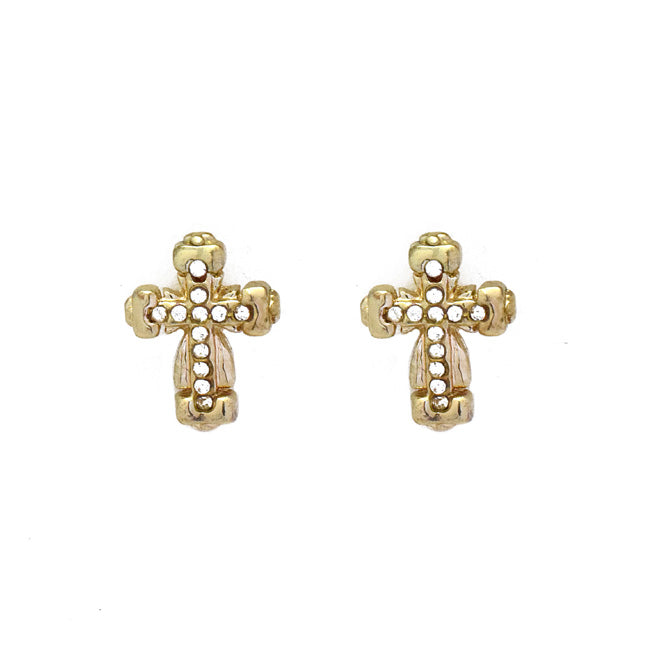 Gold Crystal Post Earrings