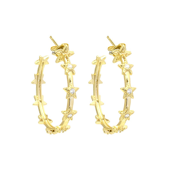 Gold CZ Star Hoop Earrings