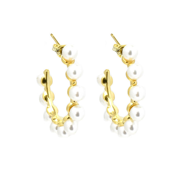 gold plated pearl hoop earring