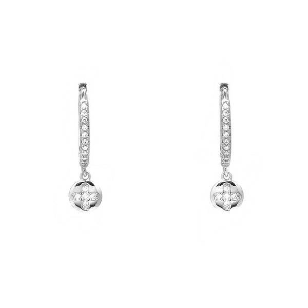 Silver Cubic Zirconia Flower Dangle Earrings