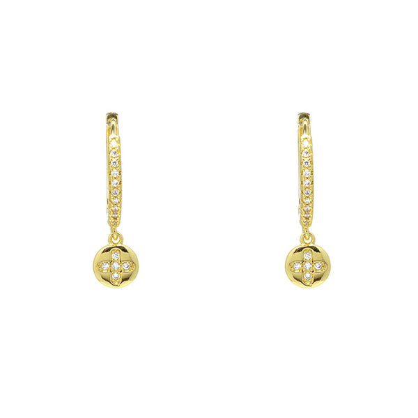 Gold Cubic Zirconia Flower Dangle Earrings