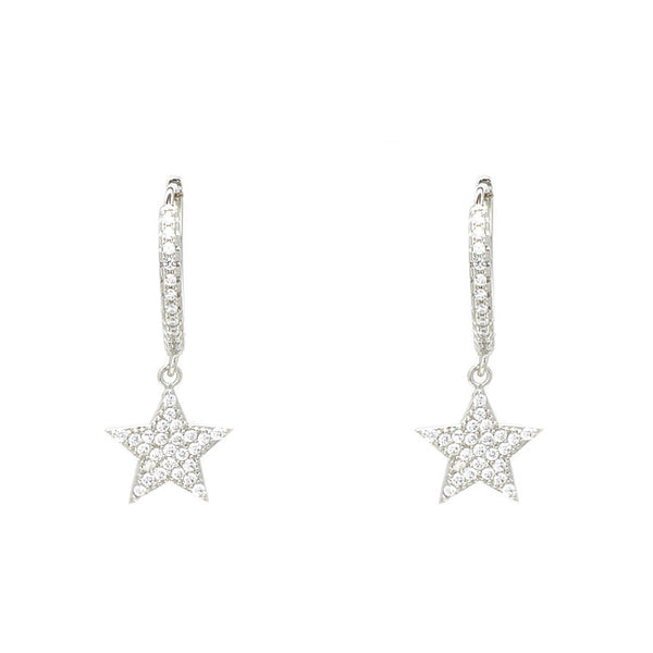 silver cz star dangle earring