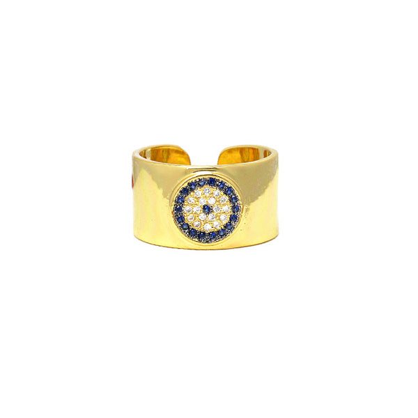 Gold CZ Evil Eye Adjustable Ring