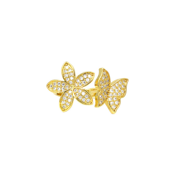 Gold Cz Butterfly Ring