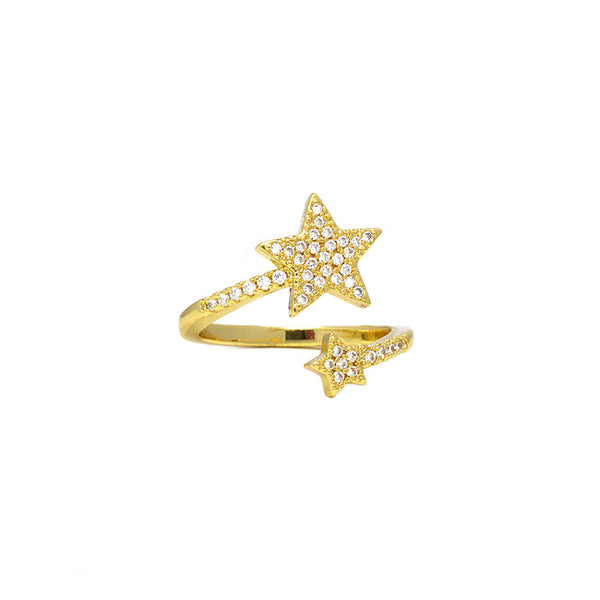 Gold Cz Star Adjustable Ring
