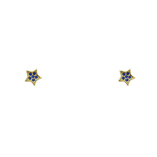 Sterling Silver Gold Plated CZ Pave Star Post Earring