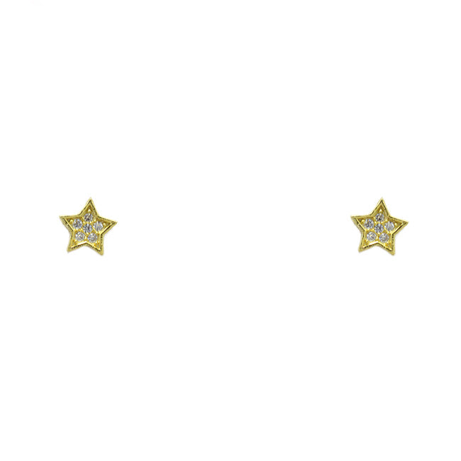 Sterling Silver Gold CZ Star Earring