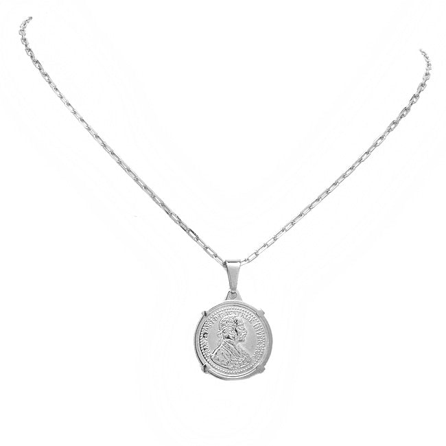 Silver Coin Pendant Chain Necklace