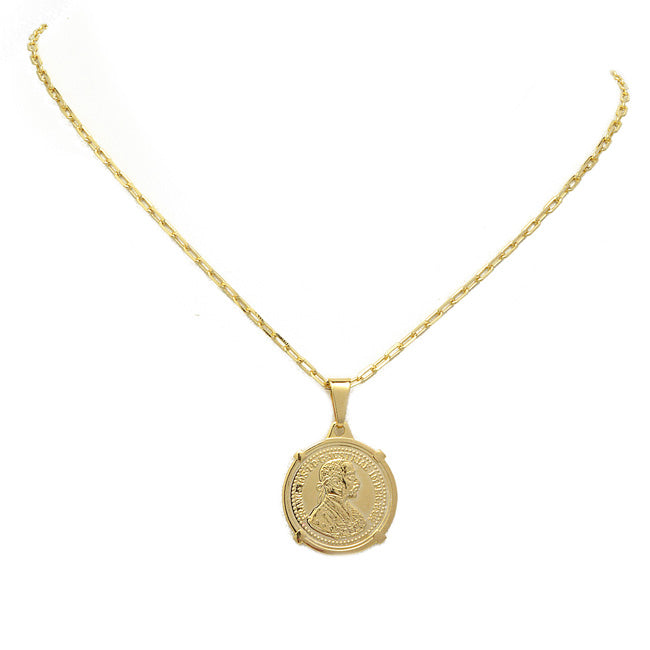 Gold Coin Pendant Chain Necklace