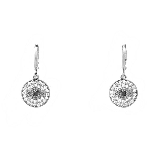 Silver CZ Evil Eye Dangle Earring
