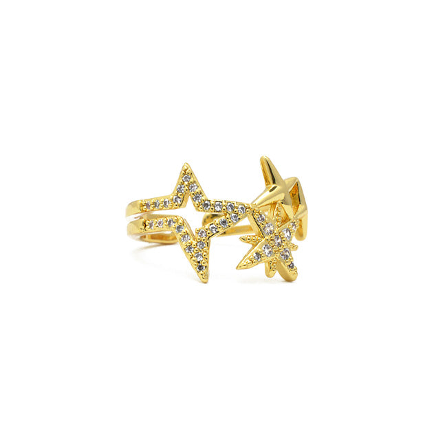 Gold Cz Adjustable Star Ring