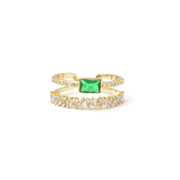 Gold Cz Adjustable Band Ring