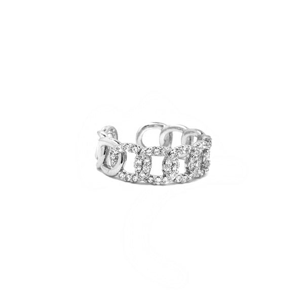 Silver Cz Adjustable Chain Ring