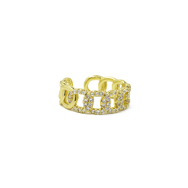 Gold Cz Adjustable Chain Ring