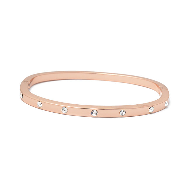 Rose Gold Stainless Steel Cubic Zirconia Bangle Bracelet