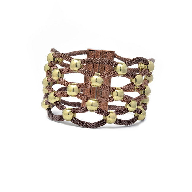 Mesh Magnetic Bracelet with Beads