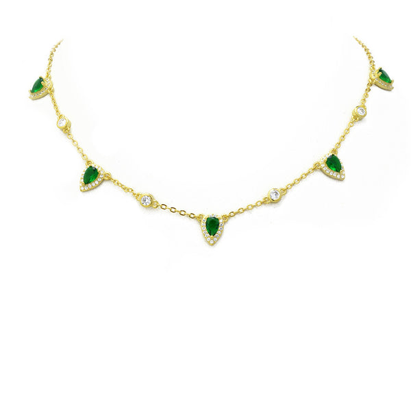 Gold & Emerald Green CZ Teardrop Charm Necklace