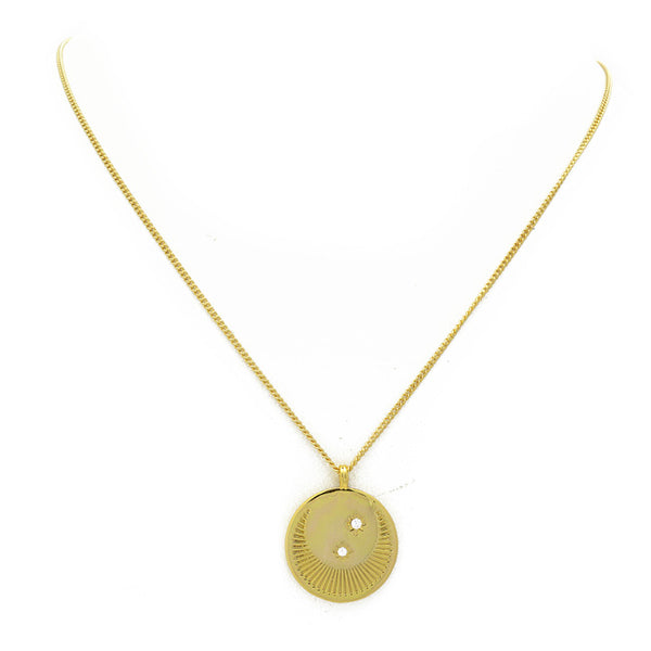 Gold Cz Moon Pendant Necklace