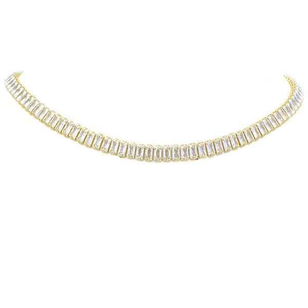Gold CZ Baguette Necklace