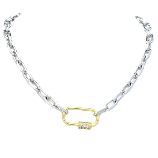 Silver cz Linked Chain Necklace