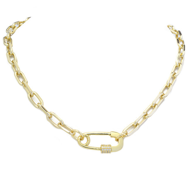 Gold cz Linked Chain Necklace