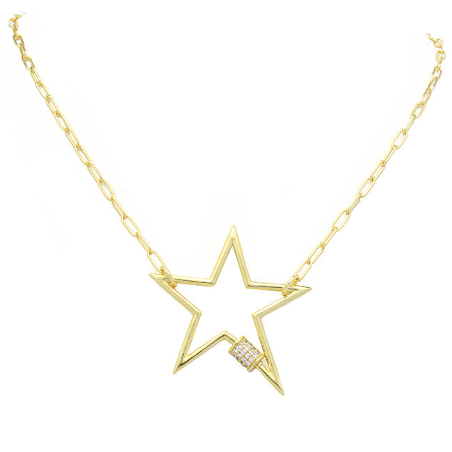 gold CZ Chain Star Pendant Necklace