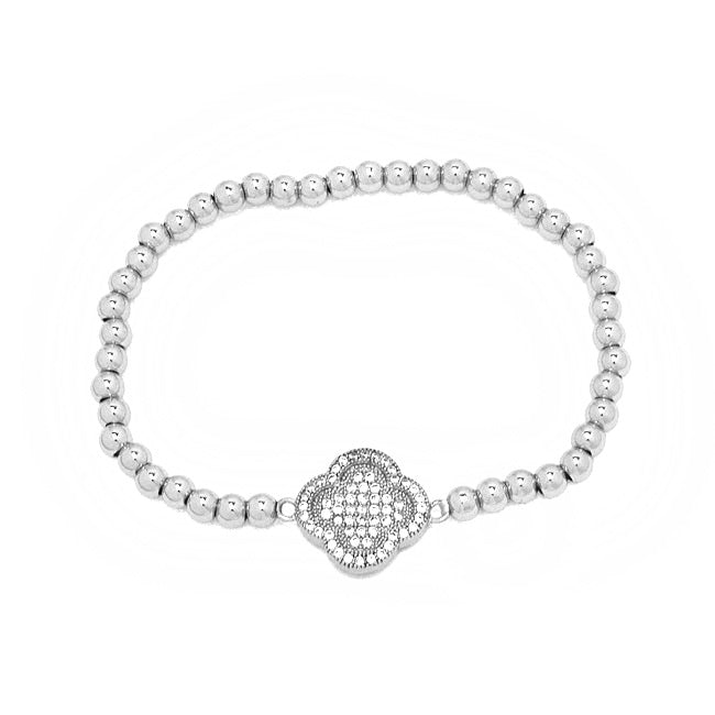 Silver Cubic Zirconia Beaded Stretch Clover Bracelet