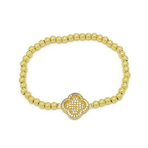 Gold Cubic Zirconia Beaded Stretch Clover Bracelet