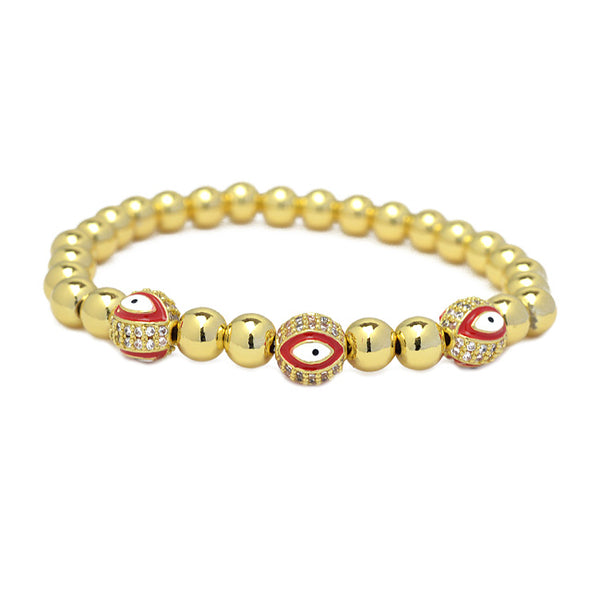 Gold Cubic Zirconia Evil Eye Beaded Stretch Bracelet