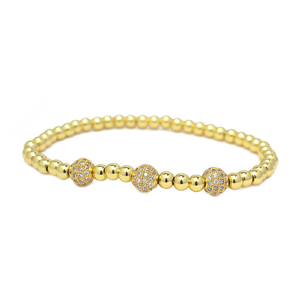 Gold Cz Beaded Stretch Bracelet
