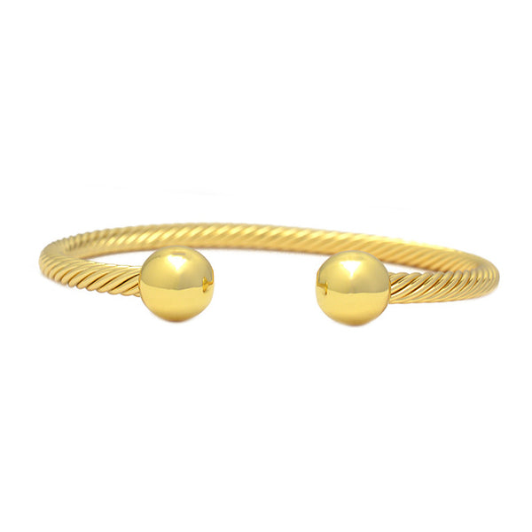 Gold Twisted Cable Cuff Bracelet