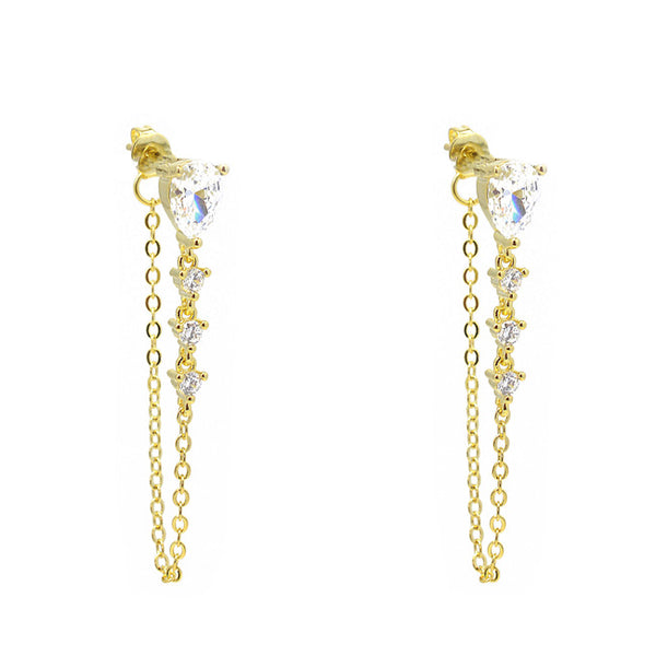 Gold Cz Teardrop Dangle Earring