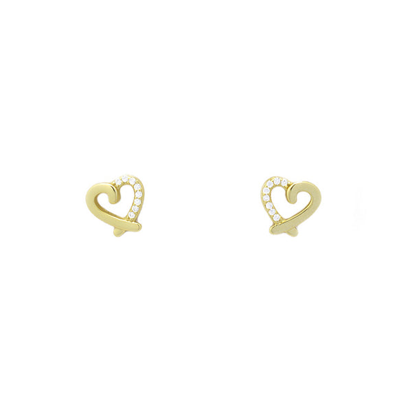 Sterling Silver Gold CZ Heart Studs