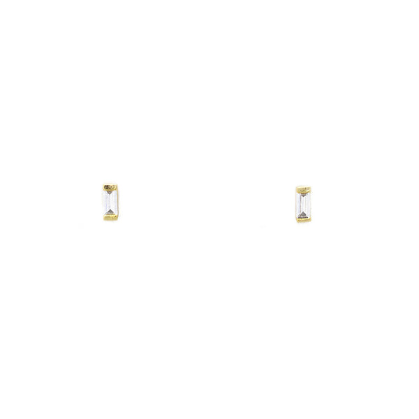 Gold Cubic Zirconia Baguette Stud Earrings